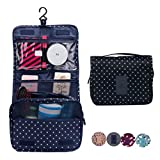 CalorMixs Hanging Toiletry Bag, Travel Organizer Cosmetic Wash Make Up Bag Case for Women Men Toiletry Kit Cosmetic Bag Travel Accessories, Navy Circle