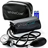 White Coat Manual Blood Pressure Cuff - Deluxe Aneroid Sphygmomanometer with Bonus LED Penlight, Adult Sized Black Cuff and Carrying Case Included