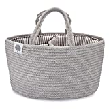 Parker Baby Rope Diaper Caddy Organizer - Nursery Storage Bin and Car Organizer for Diapers and Baby Wipes - Diaper Organizer for Baby Essentials - Gray