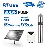 Pump Deep Well Solar Water Pump Screw Pump Submersible Solar Bore Pump, 2/3hp, 48V, 7.5GPM, 358' Head, 3' 3DSS1.7-109-48-500 Not Include Solar Panel