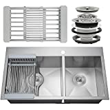 FireBird Handmade Kitchen Sink 32-inch Topmount 60/40 Double Bowl Stainless Steel with Drying Rack & Drain Kit