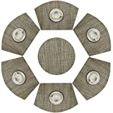 SHACOS Round Table Placemats Set of 7 Wedge Placemats with Centerpiece Woven Vinyl Heat Resistant Table Mats (7, Bamboo Green)