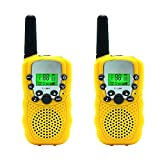 Aphse Kids Walkie Talkie Two Ways Radio Toy T-388 Walkie Talkie for Kids 3 Miles Range 22 Channels FRS GMRS Handheld Mini Walkie Talkies for Outdoor Adventures Camping Hiking Set of 2 (Yellow)