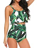 ADOME Swimsuits for Women Bikini Swimsuit 2 PCs High Waist Floral Swimwear with Tummy Control Green, M