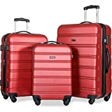 Merax Travelhouse Luggage 3 Piece Expandable Spinner Set (Red_1)