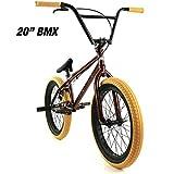 "Elite 20' & 18"" BMX Bicycle Destro Model Freestyle Bike - 4 Piece Cr-MO Handlebar (20' Copper)"