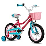 CYCMOTO 16' Kids Bike with Basket, Hand Brake & Training Wheels for 4 5 6 Years Girls, Toddler Bicycle Pink