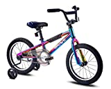 Brave 16' Freestyle BMX Galaxy Oil Slick Kids Bike for Boys and Girls. Lightweight Aluminum Frame and Fork. Tool-Less Quick Release Training Wheels. Easy to Ride!