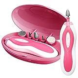Manicure Drill Nail Buffer Electric Nail File Shaper Trimmer Cuticle Buffer for Fingernail Toenail (Pink)