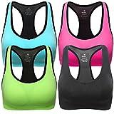 MIRITY Women Racerback Sports Bras - High Impact Workout Gym Activewear Bra Color Black Blue Pink Green Size 2XL