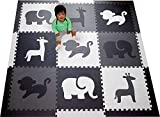 SoftTiles Kids Foam Play Mat - Safari Animals Theme- Nontoxic Puzzle Play Mats for Children's Playrooms or Baby Nursery- Large Floor Tiles for Crawling- Size 6.5 x 6.5 ft (Black, Gray, White)