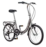 Schwinn Loop Adult Folding Bike, 20-inch Wheels, 7-Speed Drivetrain, Rear Carry Rack, Carrying Bag, Silver