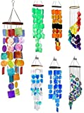Bellaa 22890 Rainbow Wind Chimes Patio Lawn Garden Unique Wind Chimes Hanging Capiz Memorial Grace Handmade Chimes 27 inch Presents for Mom Gifts for Grandma