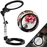 LANCOSC 2-in-1 Magnifying Desk Lamp & Handheld Magnifying Glass with Light, 5.5 Inches, 2X-6X Hands Free Magnifiers Lens for Reading, Cross Stitches, Crafts, Needleworks, Embroidery (Black)