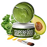 100% Vegan Dead Sea Mud Mask with Avocado & Superfoods - 100ml/3.4 Oz Face Mask for Acne - Dermatologically Tested Hydrating Clay Mask - Blackhead Remover - Deep Pore Cleanser and Minimizer