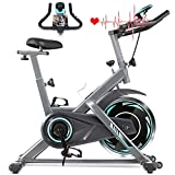 FUNMILY Indoor Exercise Bike Stationary, Cycling Bike-Belt Drive with Heart Rate Monitor & LCD Monitor, Comfortable Seat Cushion, Flywheel- Commercial Standard for Home Cardio Workout (Bright Black)