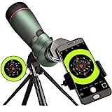 landove 20-60X 65 Waterproof Spotting Scope- Prism Scope for Birdwatching Target Shooting Archery Outdoor Activities -with Tripod & Digiscoping Adapter-Get The Beauty into Screen
