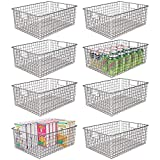 mDesign Farmhouse Decor Metal Wire Food Organizer Storage Bin Baskets with Handles for Kitchen Cabinets, Pantry, Bathroom, Laundry Room, Closets, Garage, 8 Pack - Graphite Gray