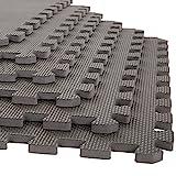 Stalwart Foam Mat Floor Tiles, Interlocking EVA Foam Padding Soft Flooring for Exercising, Yoga, Camping, Kids, Babies, Playroom – 6 Pack, Gray, 24' X 24' X 0.5'