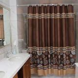 Ufaitheart 36' x 72' Small Size Shower Curtain Waterproof and Mildew Resistant Fabric Shower Curtains Heavy-duty, Coffee/Chocolate Brown, Deep Gold, Blue