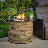 "Christopher Knight Home 296658 Rogers Round Stone Fire Pit Table, 32"" Propane Gas Patio Heater with Lava Rocks"