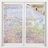Volcanics Window Privacy Film Static Window Clings Vinyl 3D Window Decals Window Stickers Rainbow Window Film for Glass Door Home Heat Control Anti UV 17.5 x 78.7 Inches