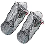 Drasry Crab Trap Bait Lobster Crawfish Shrimp Portable Folded Cast Net Collapsible Fishing Traps Nets Fishing Accessories Black 23.6in x 11.8in (60cm x 30cm) (1 PCS)