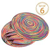 Braided Colorful Round Place mats for Kitchen Dining Table Runner Heat Insulation Non-Slip Washable Spring Placemats Set of 6