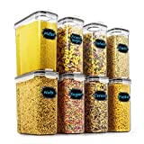 Cereal & Dry Food Storage Containers - Wildone Airtight Cereal Storage Containers Set of 8 [2.5L / 85.4oz] for Sugar, Flour, Snack, Baking Supplies, Leak-proof with Black Locking Lids