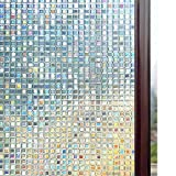 Rabbitgoo 3D Decorative Window Film, Non-Adhesive Privacy Films - Frosted Window Glass Film for Home Office, Removable Rainbow Window Tint Film, Mosaic Patterns, 17.5 x 78.7 inches