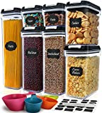 Airtight Food Storage Containers - M MCIRCO 7 Pieces BPA Free Plastic Containers with Upgraded Durable Lids - for Kitchen Organization and Storage, Include 20 Labels, 1 Marker and 4 Measuring Tools