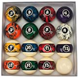 GSE Games & Sports Expert 2 1/4-Inch Professional Regulation Size Billiards Pool Balls Set (Several Styles Available) (Dark Marble Swirl Style)
