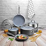 COOKSMARK 12 Piece Scratch Resistant Ceramic Nonstick Hard Anodized Aluminum Cookware Set, Pans and Pots Steamer Insert Bamboo Cooking Utensils, Black