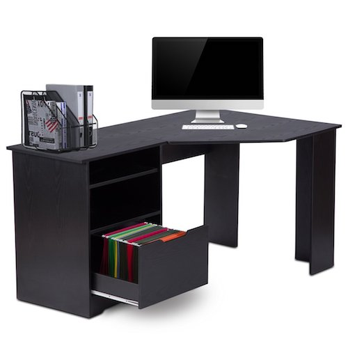 9. Corner Computer Desk with Bookshelves and File Cabinet by DEVAISE L-Shaped Desk
