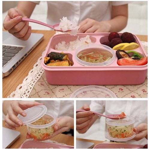 10. 5-Compartment Microwave Safe Food Container with Lid/Divided Plate/Bento Box/Lunch Tray with Cover, 1-Pack, Get 1 Free Spoon
