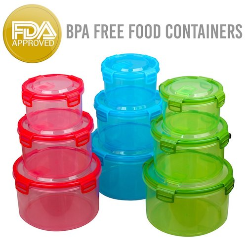 6. Amazix 18 Piece Food Containers Set, Air Tight Sealed, High Capacity, Total BPA free FDA Approved, Un-Leakage & safe For Microwave, Dishwasher & Freezer