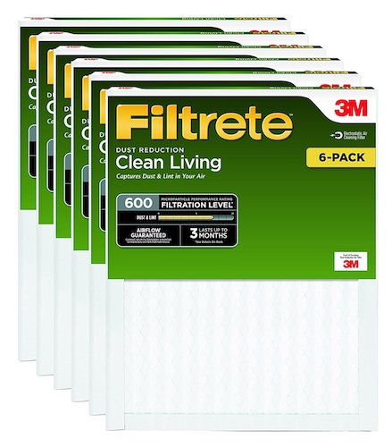 3. Filtrete Clean Living Dust Reduction AC Furnace Air Filter, MPR 600, 14 x 24 x 1-Inches, 6-Pack