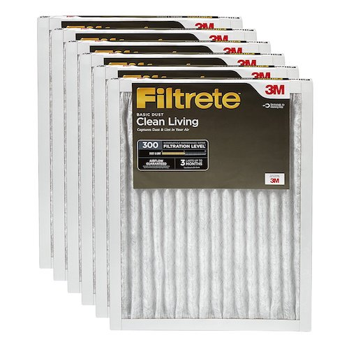 1. Filtrete Clean Living Basic Dust AC Furnace Air Filter MPR 300