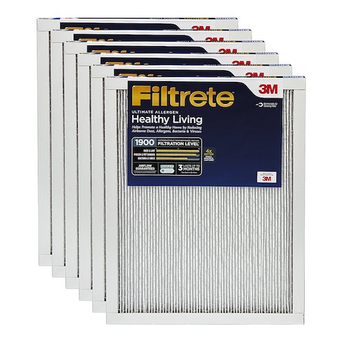 4. Filtrete Healthy Living Ultimate Allergen Reduction HVAC Air Filter, Captures PM 2.5 Air Pollution, Guaranteed Airflow up to 90 days, MPR 1900, 16 x 20 x 1-Inches, 6-Pack