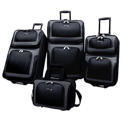 7. U.S. Traveler New Yorker 4 Piece Luggage Set Expandable