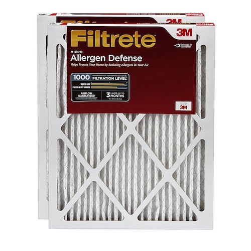 10. Filtrete Micro Allergen Defense AC Furnace Air Filter, Captures Smoke & Smog, Delivers Cleaner Air, MPR 1000, 16 x 25 x 1-Inches, 2-Pack