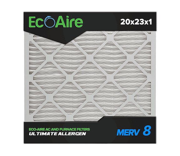 9. Eco-Aire 20x23x1 MERV 8, Pleated Air Filter, 20x23x1, Box of 6, Made in the USA