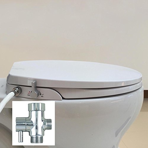 9. Hibbent Non Electric Toilet Bidet Seat - American Round Toilet Seats - No Electricity Bathroom Washlet Dual Nozzles Sprayer for Bidets and Rear Washing(Fitted 16.5 -18 inch Round/Standard Bowl)-OB108