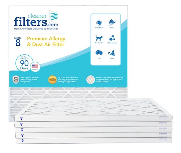 7. Cleaner Filters 20x25x1 Air Filter, Pleated High Efficiency Allergy Furnace Filters for Home or Office with MERV 8 Rating (6 Pack)