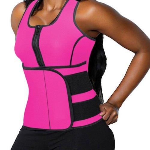 9. DODOING Zipper Waist Trimmer Trainer Belt Women Shapewear Weight Loss Neoprene Sauna Tank Top Vest Body Shaper Slimming Fajas