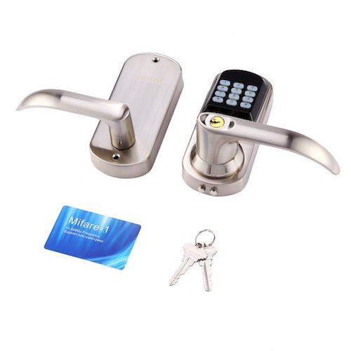 Best Commercial Electronic Door Lock Systems: 2. ACEHE Digital Door Lock, Unlock with M1 Card, Code, and Key