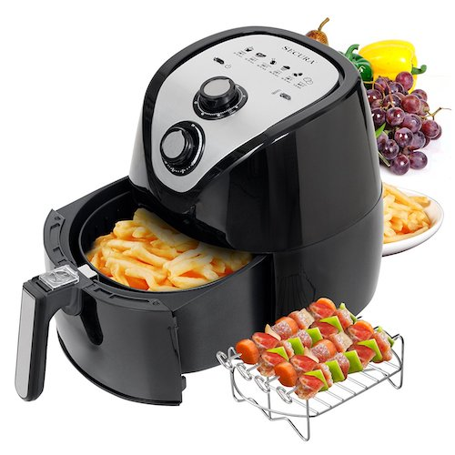 3. Secura 1500 Watt Large Capacity 3.2-Liter, 3.4 QT., Electric Hot Air Fryer and additional accessories; Recipes,Toaster rack and Skewers