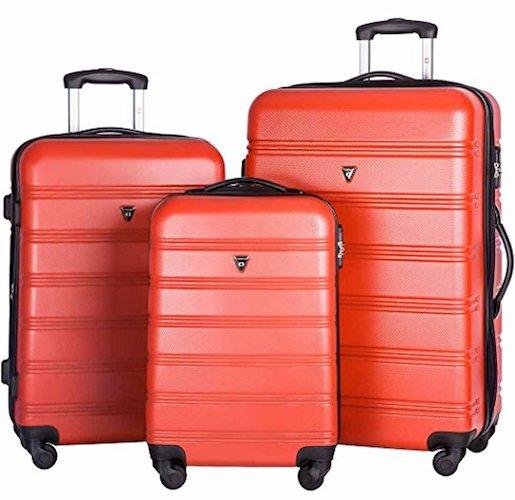 2. Merax Travelhouse Luggage Set 3 Piece Expandable Lightweight Spinner Suitcase