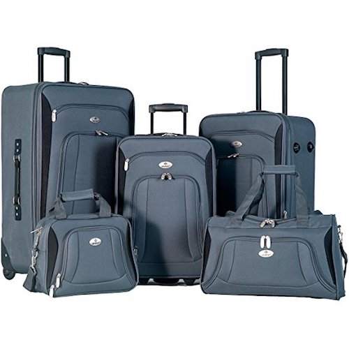 4. Merax Newest 5 Piece Luggage Set Softshell Deluxe Expandable Rolling Suitcase