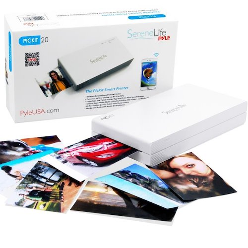 2. Portable Instant Mobile Photo Printer - Wireless Color Picture Printing from Apple iPhone, iPad or Android Smartphone Camera - Mini Compact Pocket Size Easy for Travel - SereneLife PICKIT20 White